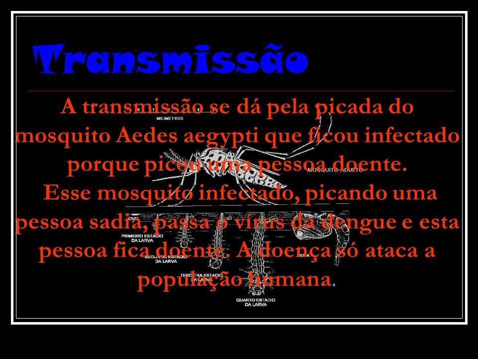 Transmissão A transmissão se dá pela picada do mosquito Aedes aegypti que ficou infectado porque picou uma pessoa doente.