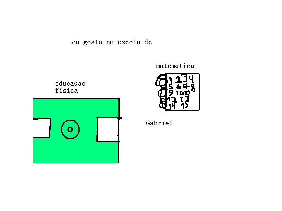 O que eu mais gosto na escola Eu gosto na escola de educação física e gosto de matemática. Gabriel