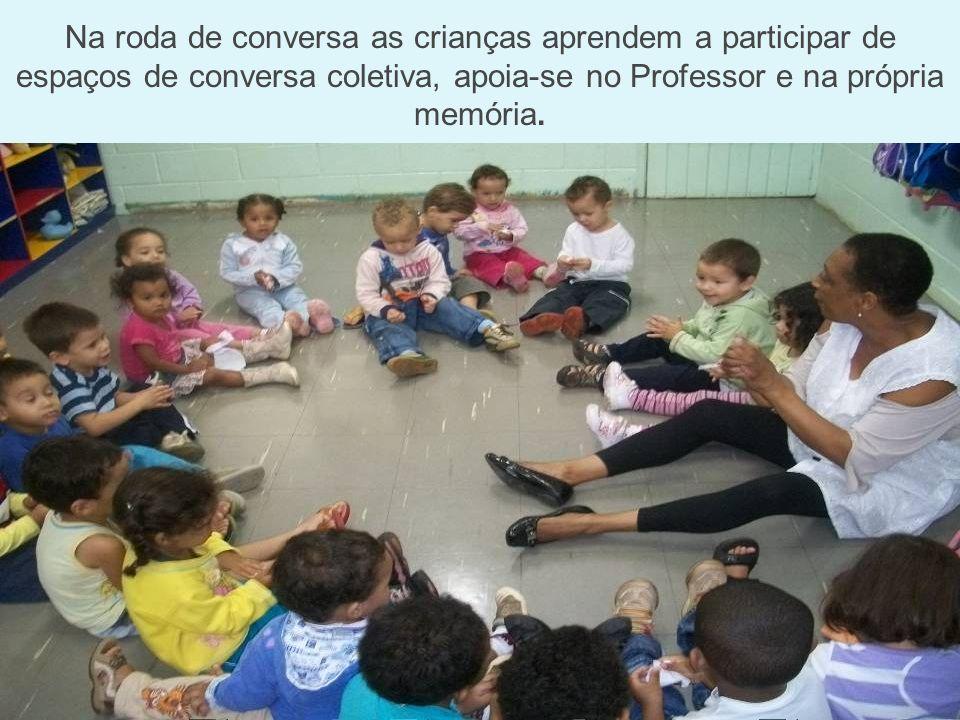 Na roda de conversa as crianças aprendem a participar de espaços de conversa coletiva, apoia-se no Professor e na própria memória.