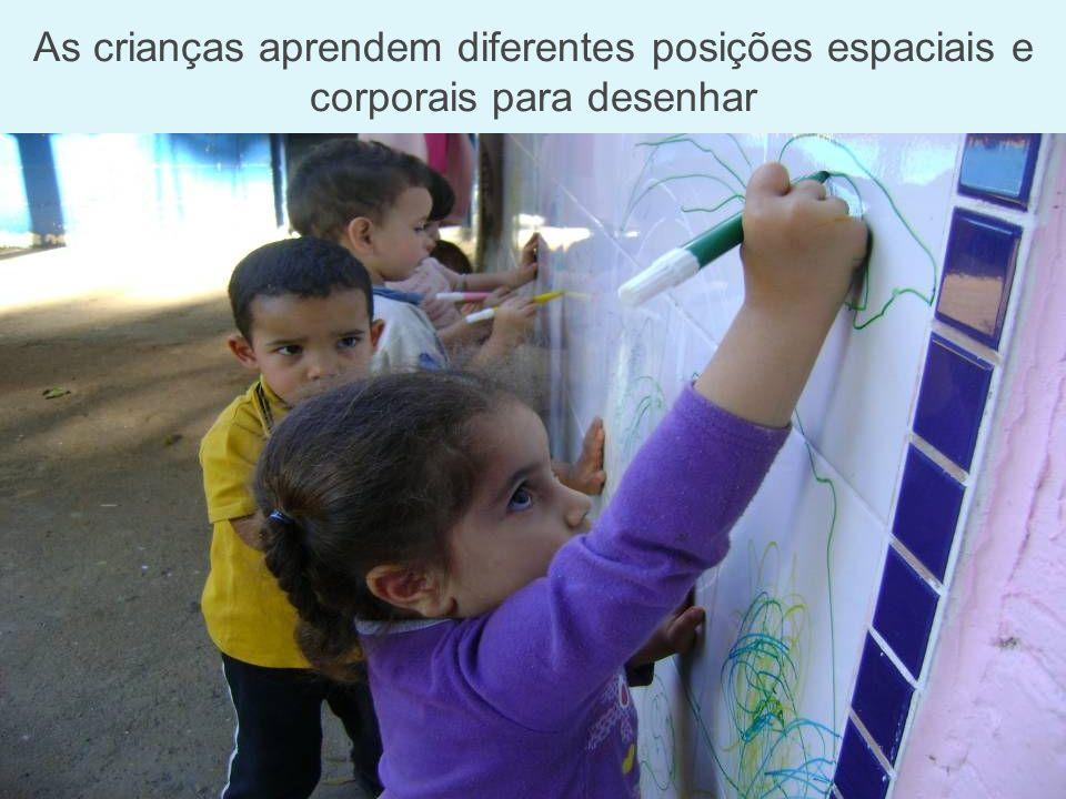 As crianças aprendem diferentes posições espaciais e corporais para desenhar