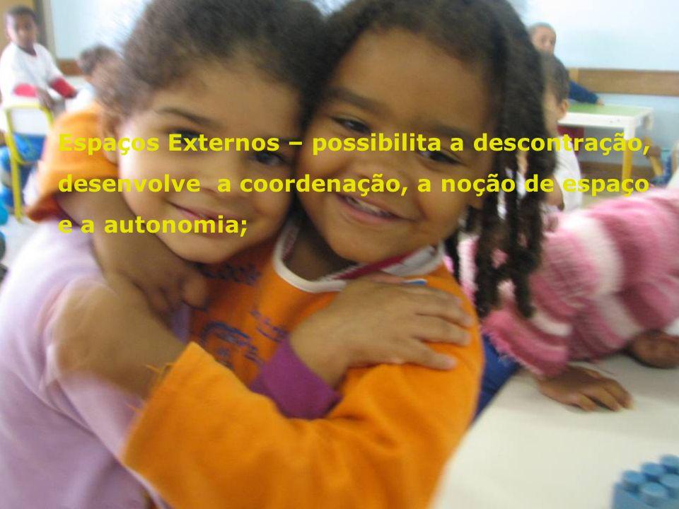 Espaços Externos – possibilita a descontração, desenvolve a coordenação, a noção de espaço e a autonomia;