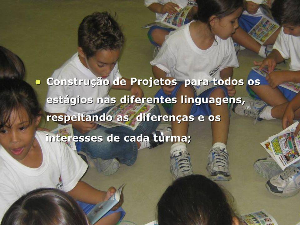 Construção de Projetos para todos os estágios nas diferentes linguagens, respeitando as diferenças e os Construção de Projetos para todos os estágios nas diferentes linguagens, respeitando as diferenças e os interesses de cada turma; interesses de cada turma;