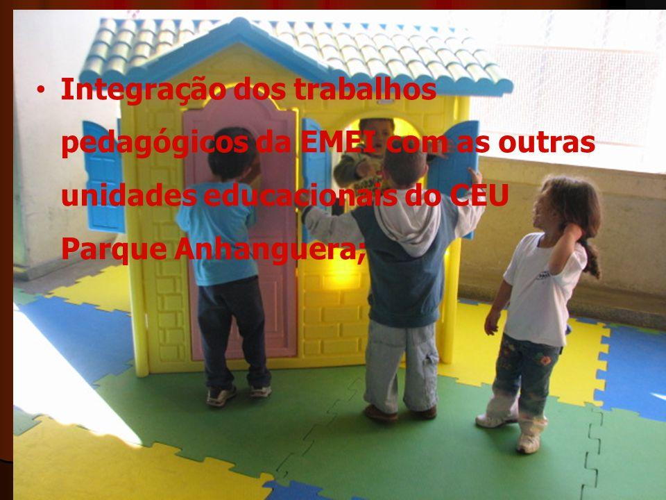 Integração dos trabalhos pedagógicos da EMEI com as outras unidades educacionais do CEU Parque Anhanguera;