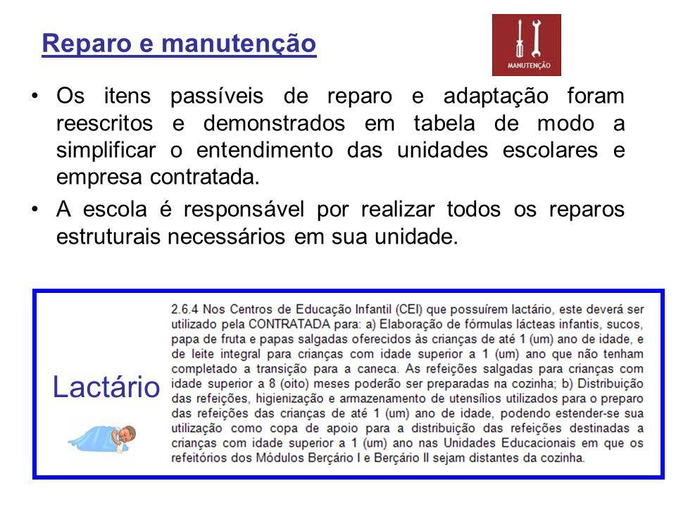 Reparo e manutenção Os itens passíveis de reparo e adaptação foram reescritos e demonstrados em tabela de modo a simplificar o entendimento das unidad