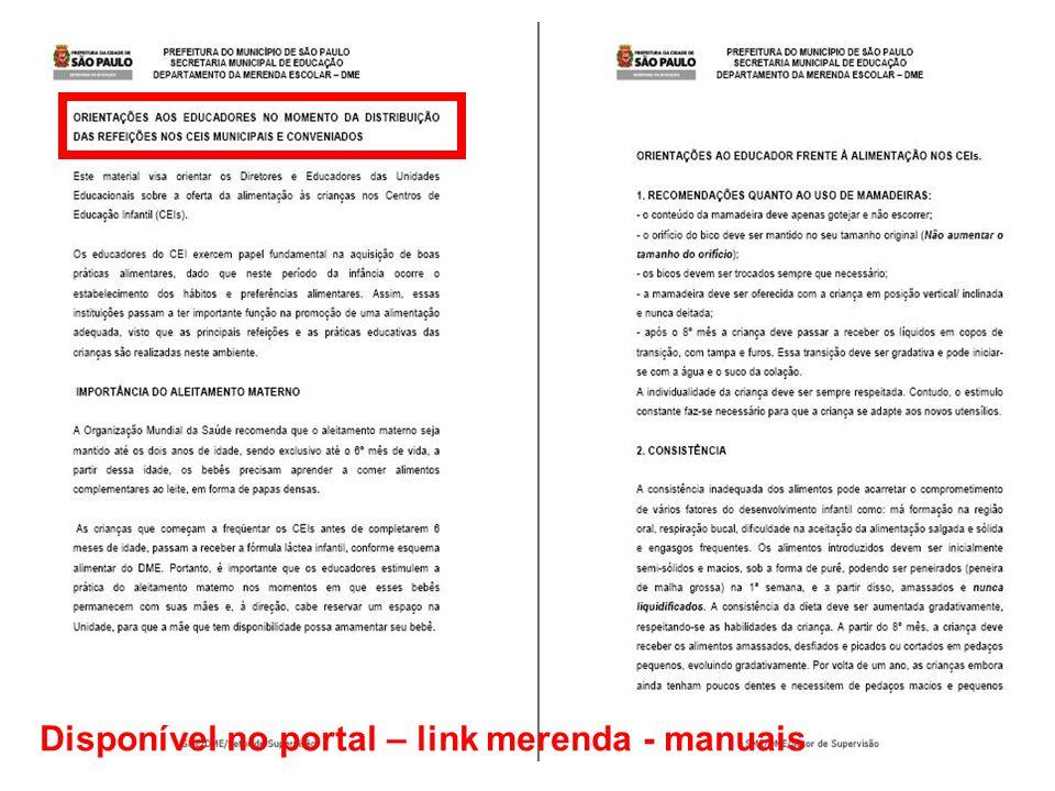 Disponível no portal – link merenda - manuais