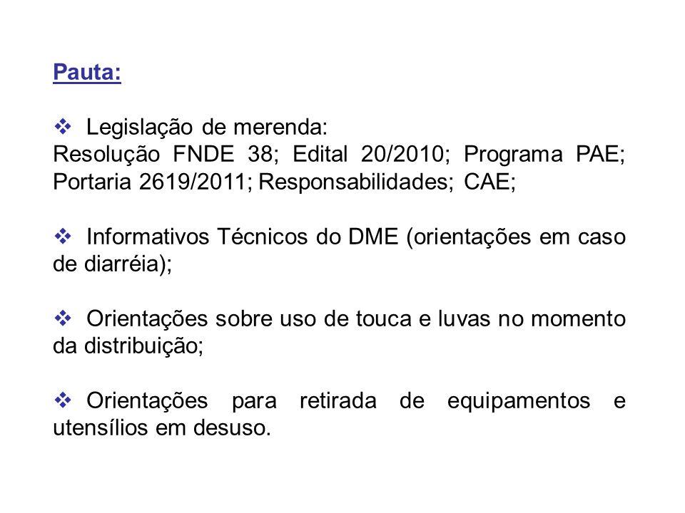 Pauta: Legislação de merenda: Resolução FNDE 38; Edital 20/2010; Programa PAE; Portaria 2619/2011; Responsabilidades; CAE; Informativos Técnicos do DM