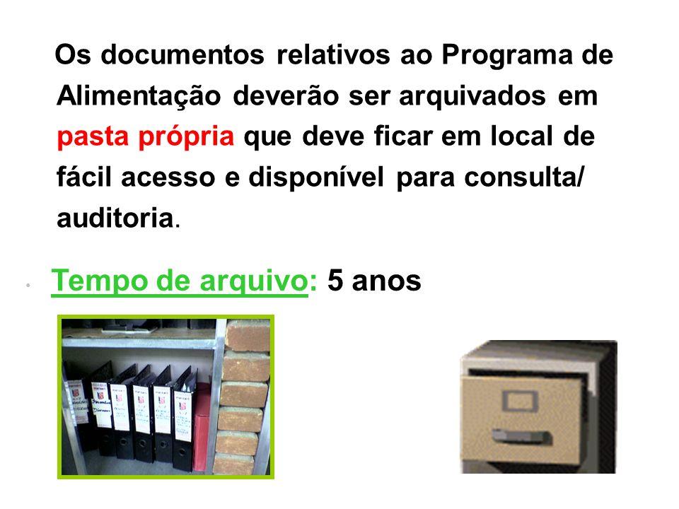 Os documentos relativos ao Programa de Alimentação deverão ser arquivados em pasta própria que deve ficar em local de fácil acesso e disponível para c