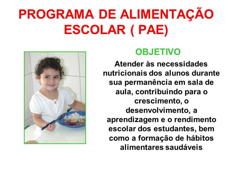 PROGRAMA DE ALIMENTAÇÃO ESCOLAR ( PAE) OBJETIVO Atender às necessidades nutricionais dos alunos durante sua permanência em sala de aula, contribuindo