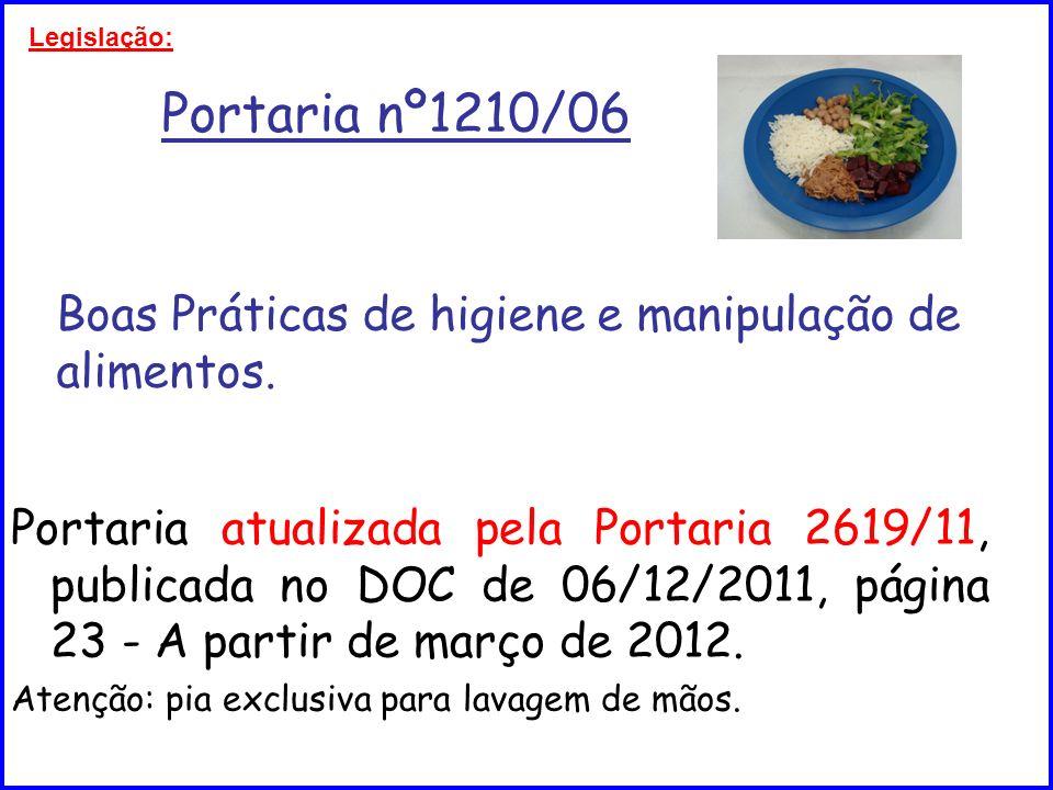 Portaria nº1210/06 Boas Práticas de higiene e manipulação de alimentos. Portaria atualizada pela Portaria 2619/11, publicada no DOC de 06/12/2011, pág