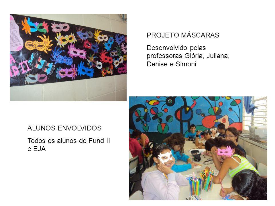 PROJETO MÁSCARAS Desenvolvido pelas professoras Glória, Juliana, Denise e Simoni ALUNOS ENVOLVIDOS Todos os alunos do Fund II e EJA