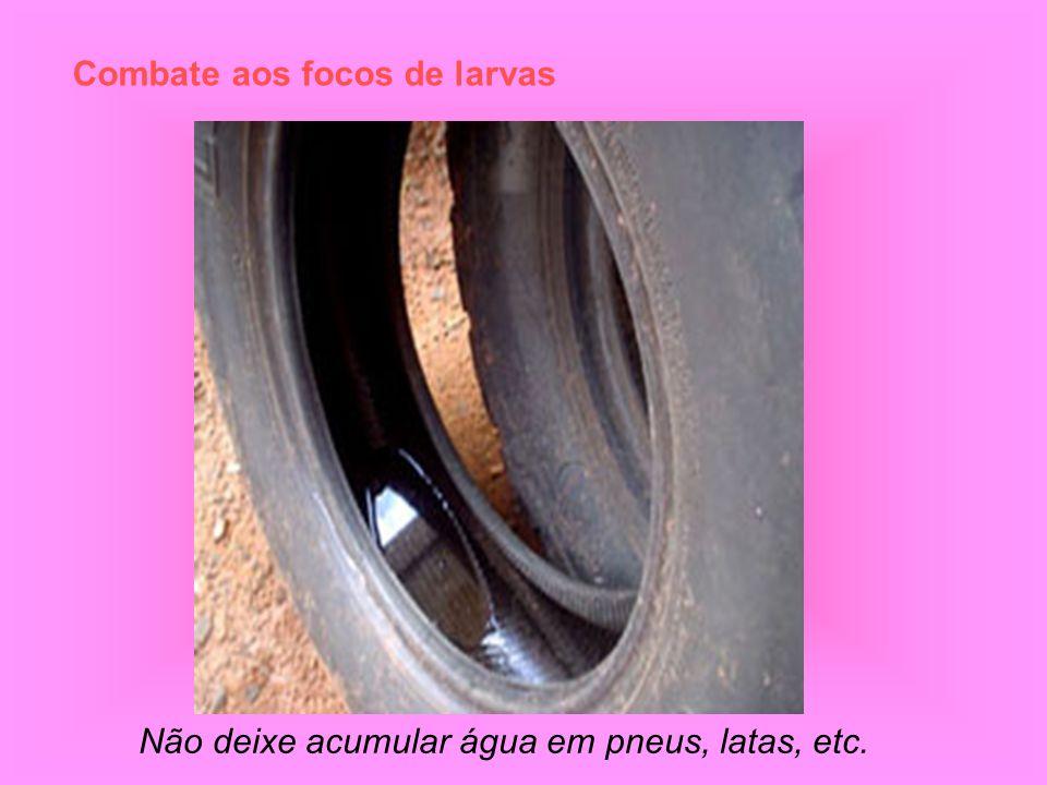 Combate aos focos de larvas Não deixe acumular água em pneus, latas, etc.