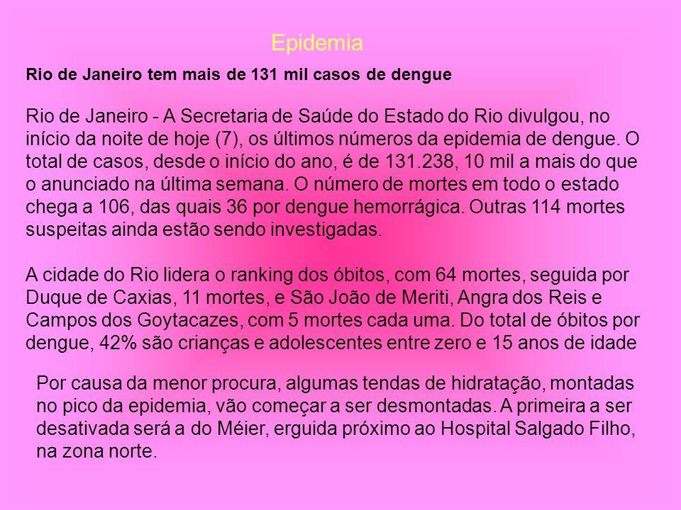 Rio de Janeiro tem mais de 131 mil casos de dengue Rio de Janeiro - A Secretaria de Saúde do Estado do Rio divulgou, no início da noite de hoje (7), o