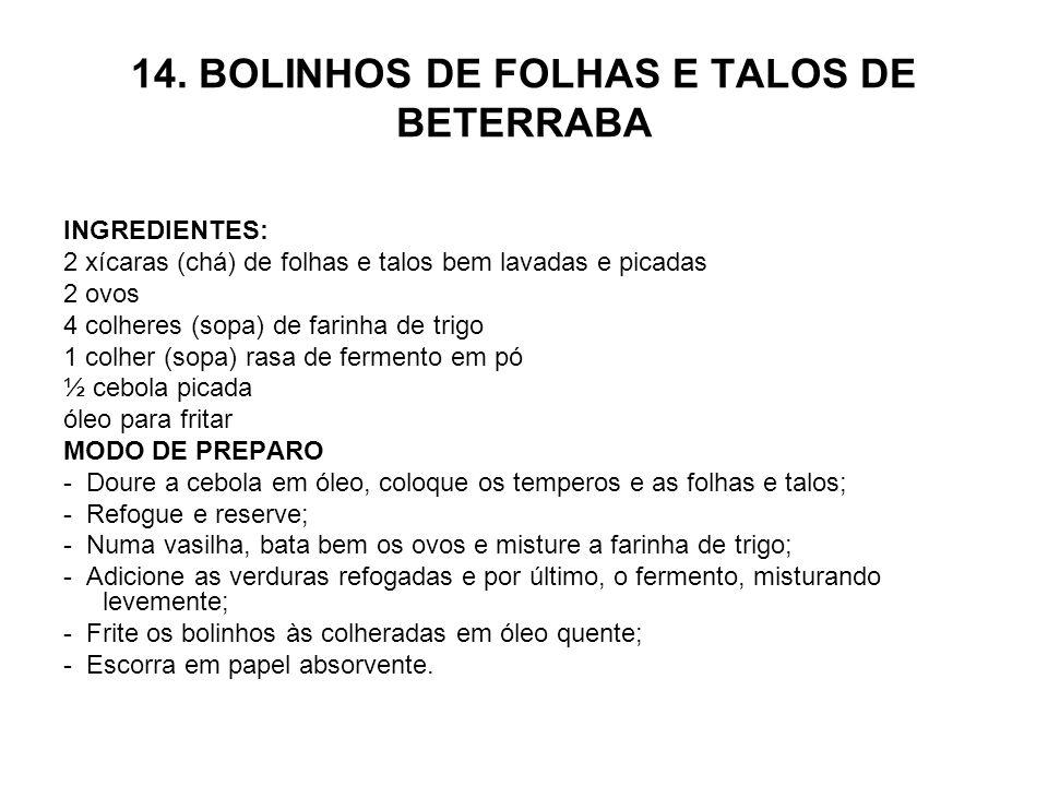 14. BOLINHOS DE FOLHAS E TALOS DE BETERRABA INGREDIENTES: 2 xícaras (chá) de folhas e talos bem lavadas e picadas 2 ovos 4 colheres (sopa) de farinha