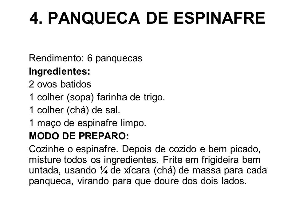 4. PANQUECA DE ESPINAFRE Rendimento: 6 panquecas Ingredientes: 2 ovos batidos 1 colher (sopa) farinha de trigo. 1 colher (chá) de sal. 1 maço de espin