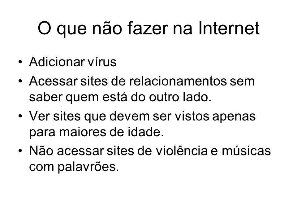 O que não fazer na Internet Adicionar vírus Acessar sites de relacionamentos sem saber quem está do outro lado. Ver sites que devem ser vistos apenas