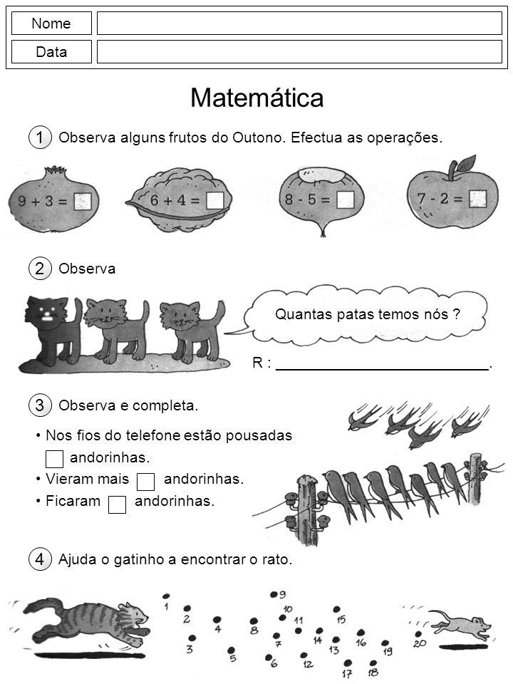 Nome Data Matemática Observa alguns frutos do Outono. Efectua as operações. 1 Observa 2 Quantas patas temos nós ? R : _________________________. Obser
