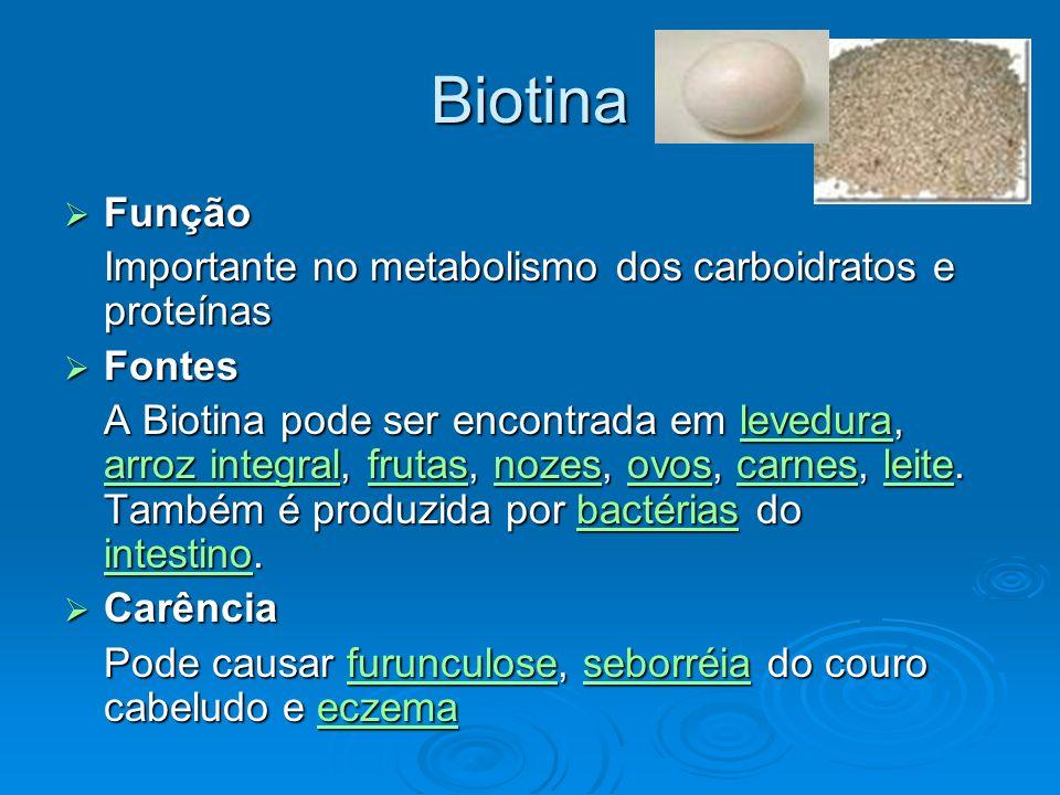 Biotina Função Função Importante no metabolismo dos carboidratos e proteínas Fontes Fontes A Biotina pode ser encontrada em levedura, arroz integral,