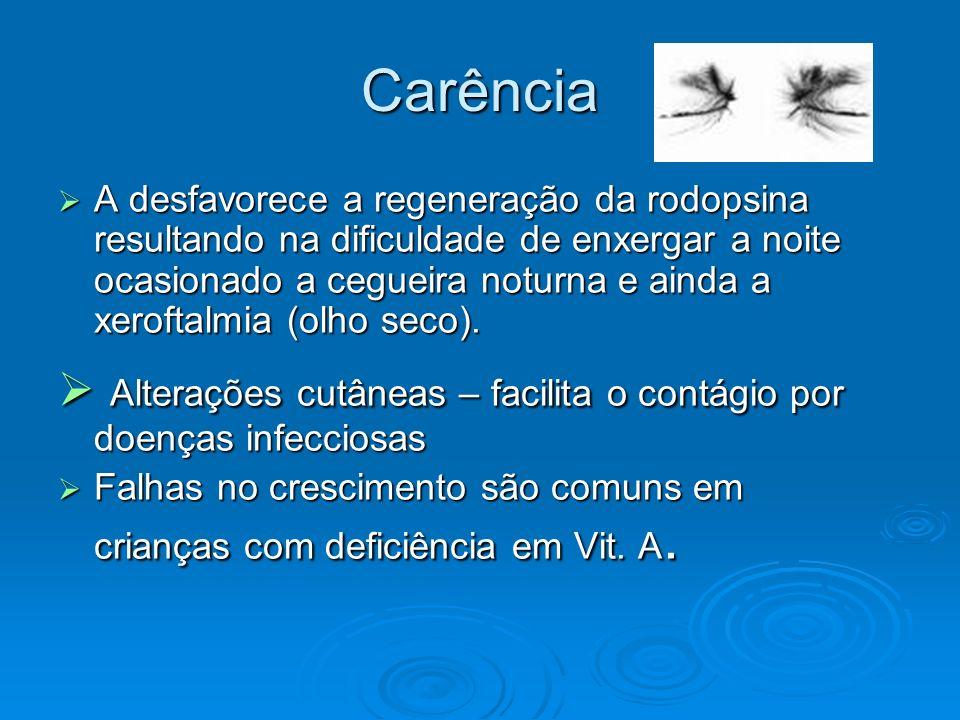 Carência A desfavorece a regeneração da rodopsina resultando na dificuldade de enxergar a noite ocasionado a cegueira noturna e ainda a xeroftalmia (o
