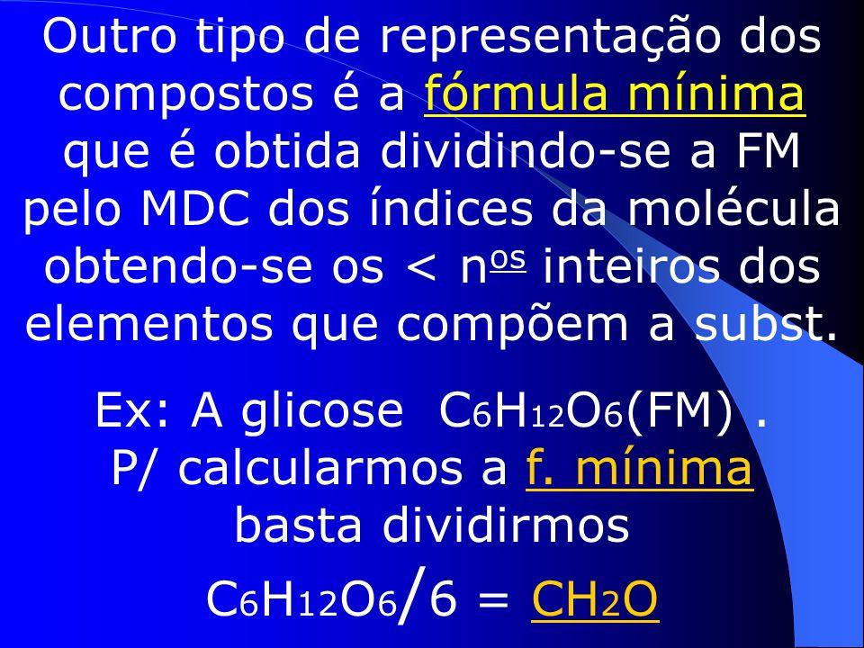 Determinação de fórmulas Identifica-se um composto pelo seu nome ou pela sua fórmula, que é constituída pelos elementos que a compõem e suas quantidades H 2 SO 4 (o ácido sulfúrico é formado por 2 átomos de H, 1 de S e 4 de O).Esse tipo de fórmula é chamado de fórmula molecular (FM)(ou bruta).