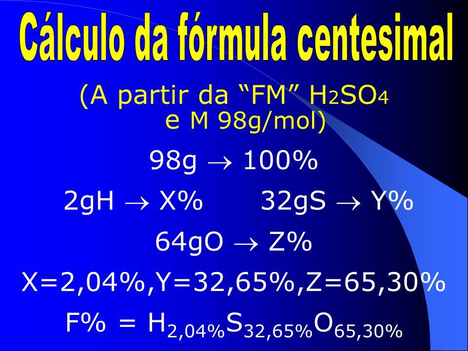 Outro tipo de representação dos compostos é a fórmula mínima que é obtida dividindo-se a FM pelo MDC dos índices da molécula obtendo-se os < n os inteiros dos elementos que compõem a subst.