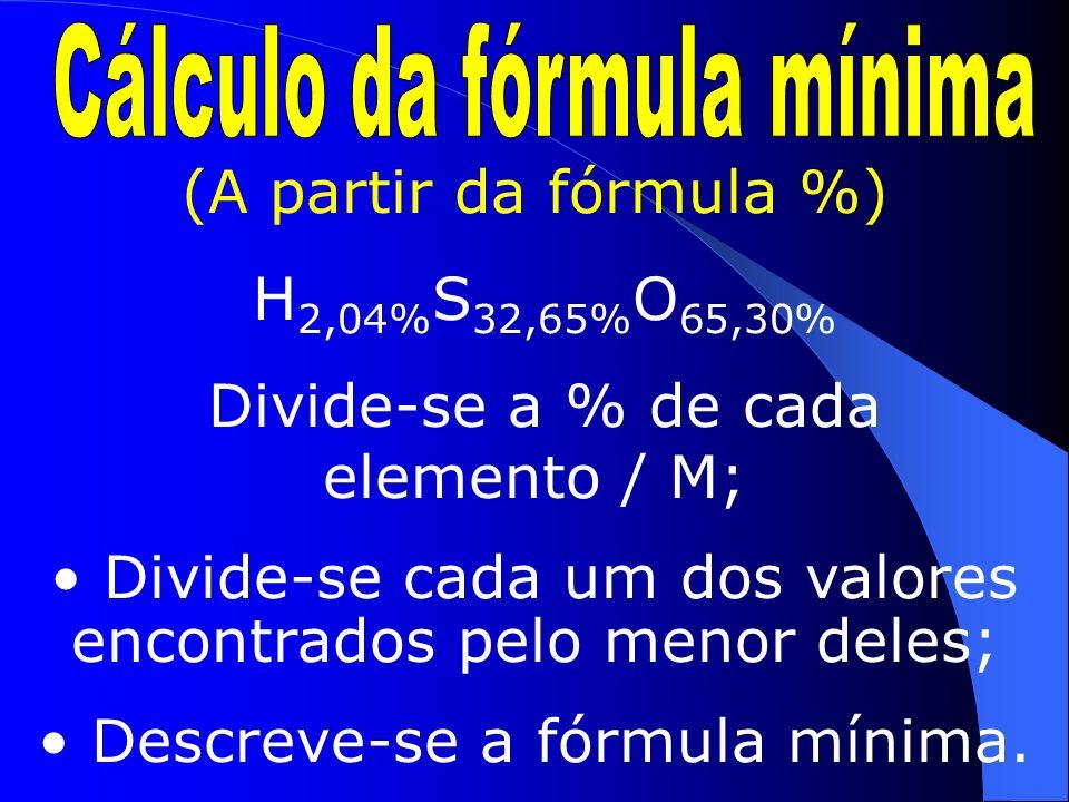 (A partir da FM H 2 SO 4 e M 98g/mol) 98g 100% 2gH X% 32gS Y% 64gO Z% X=2,04%,Y=32,65%,Z=65,30% F% = H 2,04% S 32,65% O 65,30%