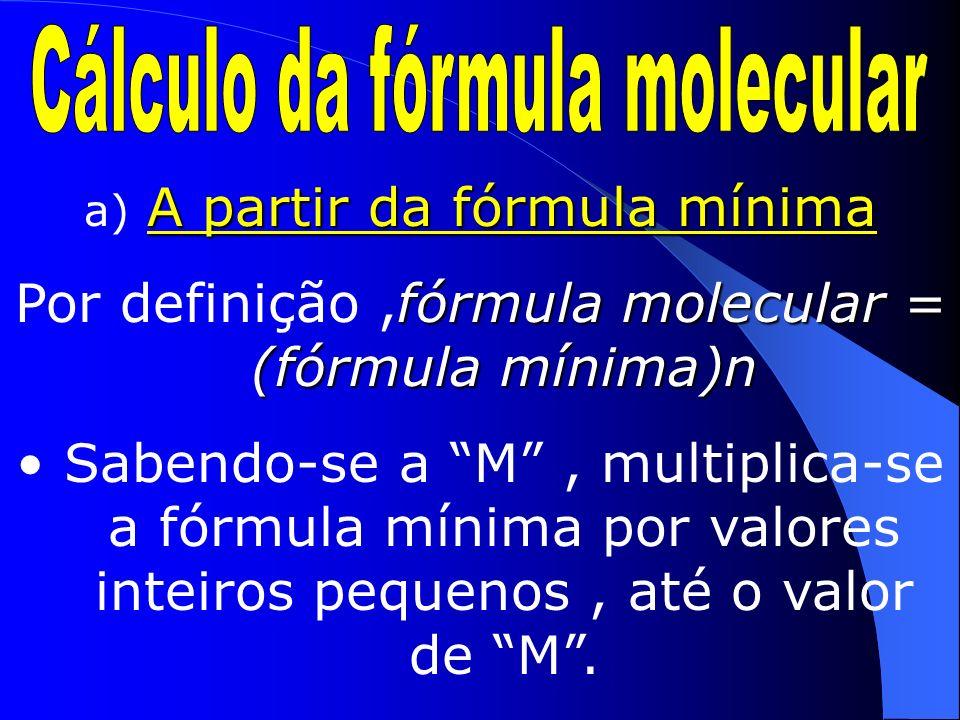 (A partir da fórmula %) H 2,04% S 32,65% O 65,30% Divide-se a % de cada elemento / M; Divide-se cada um dos valores encontrados pelo menor deles; Descreve-se a fórmula mínima.