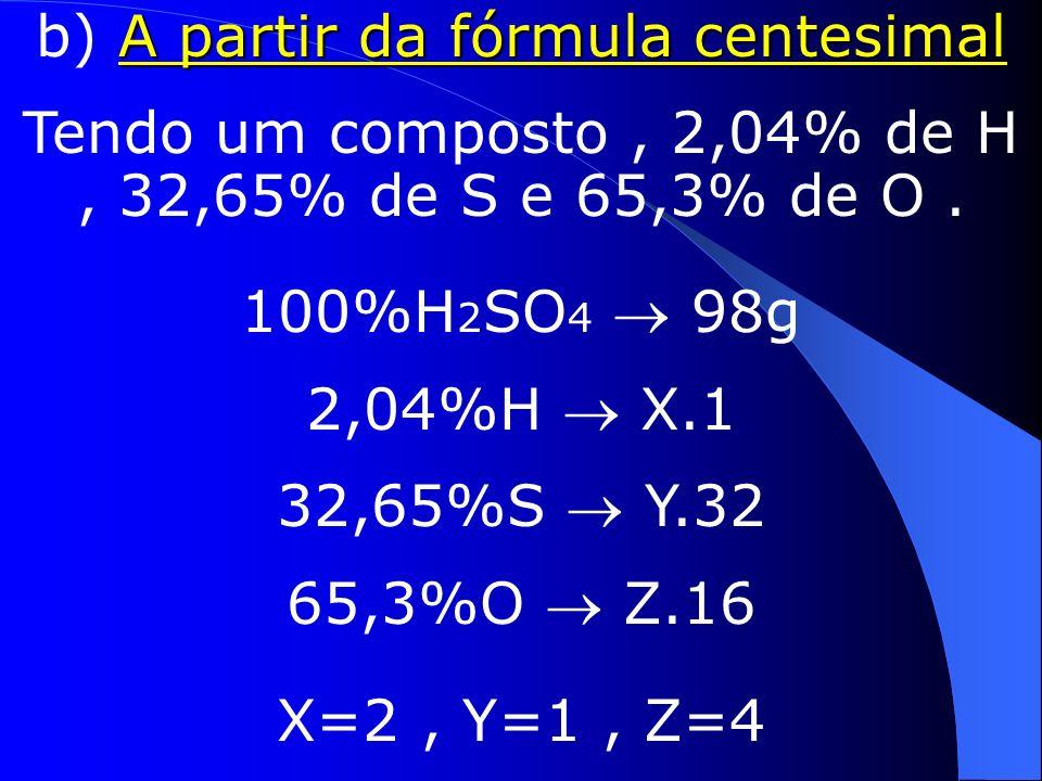 A partir da fórmula mínima a) A partir da fórmula mínima fórmula molecular = (fórmula mínima)n Por definição,fórmula molecular = (fórmula mínima)n Sabendo-se a M, multiplica-se a fórmula mínima por valores inteiros pequenos, até o valor de M.