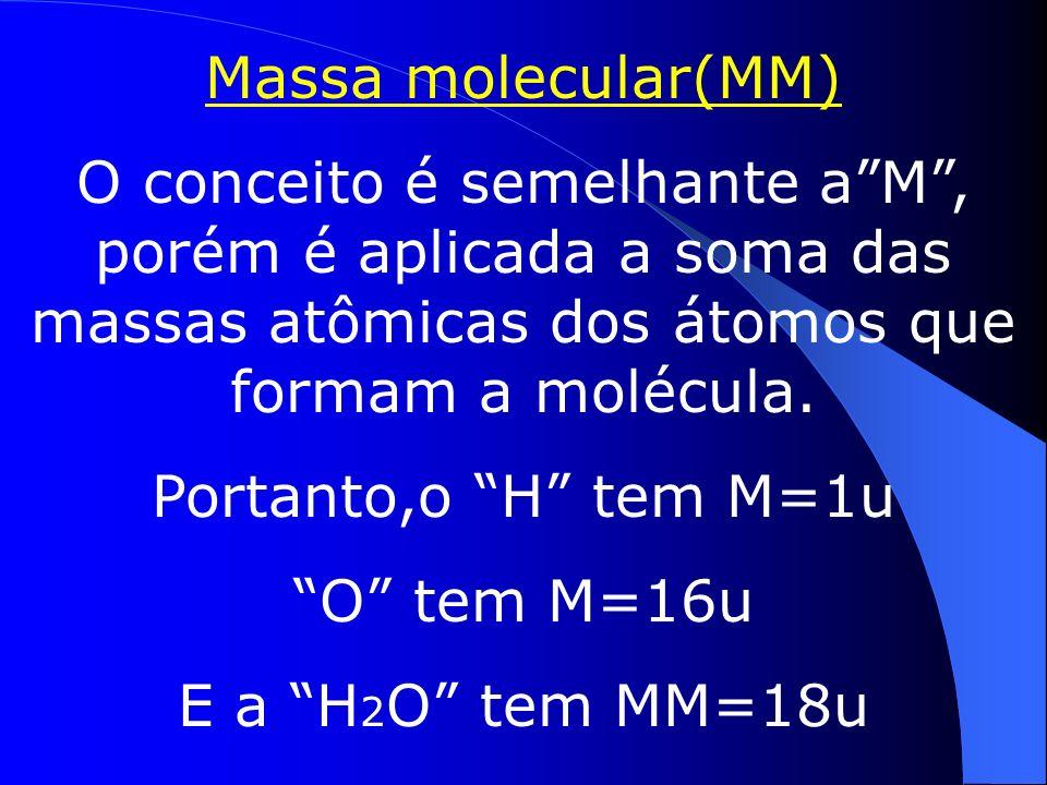 Na prática a M é calculada pela média ponderal das massas dos isótopos dos elementos e suas % na natureza.