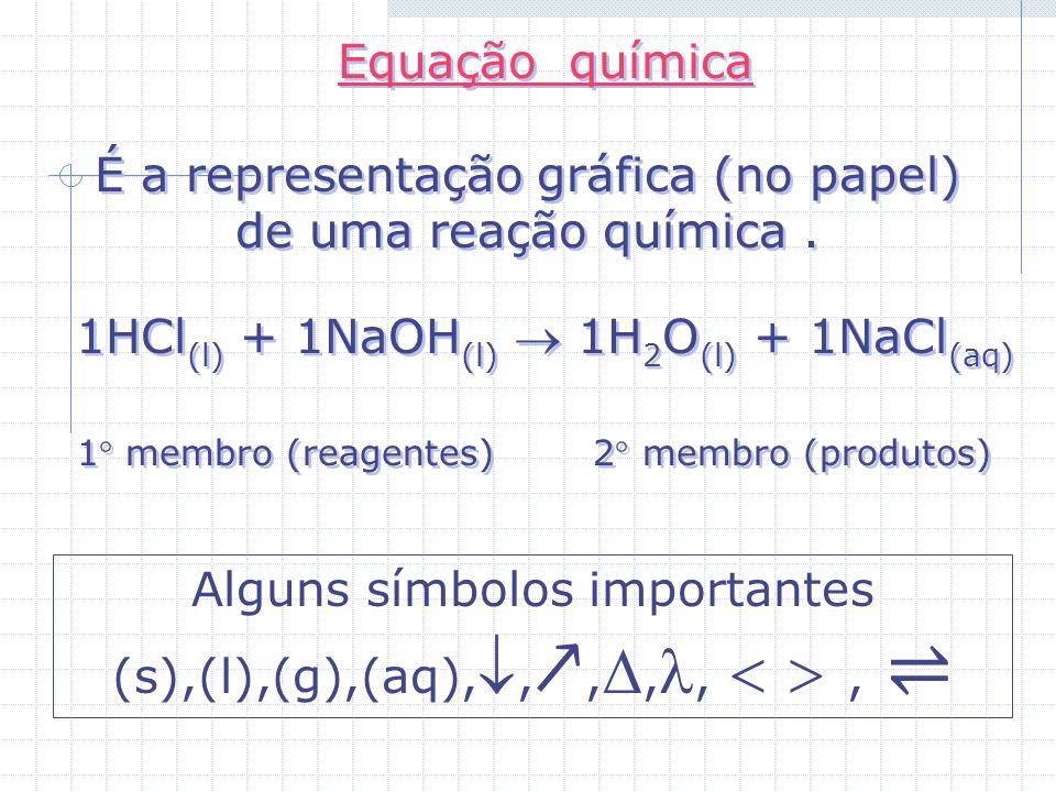 Equação química É a representação gráfica (no papel) de uma reação química.