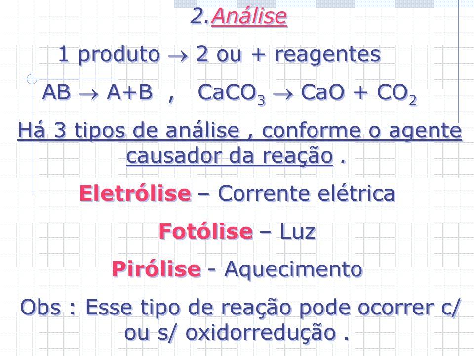 2.Análise 1 produto 2 ou + reagentes AB A+B, CaCO 3 CaO + CO 2 Há 3 tipos de análise, conforme o agente causador da reação.