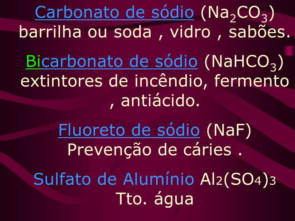 Cloreto de sódio (NaCl) soro fisiológico, alimentação,conservação da carne, misturas refrigerantes,matéria prima. Nitrato de sódio (NaNO 3 ) Fertiliza