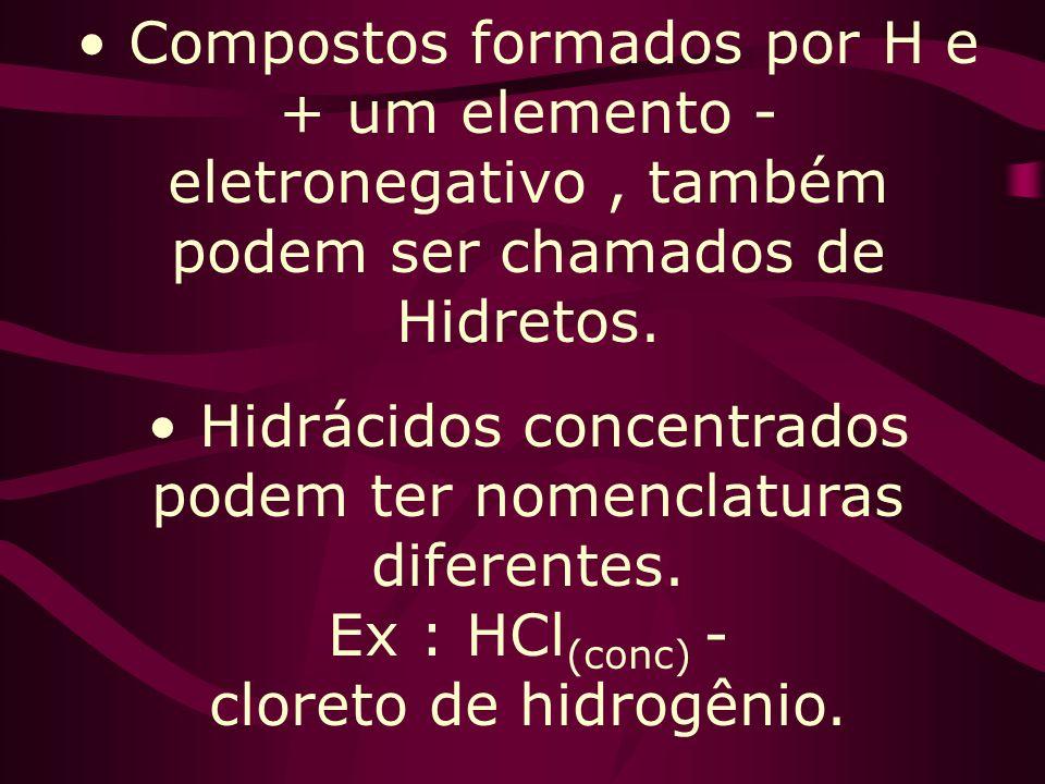 Compostos formados por H e + um elemento - eletronegativo, também podem ser chamados de Hidretos.