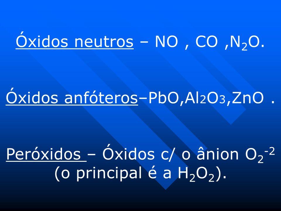 Óxidos neutros – NO, CO,N 2 O.Óxidos anfóteros–PbO,Al 2 O 3,ZnO.