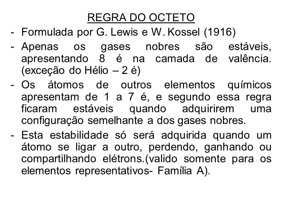 REGRA DO OCTETO -Formulada por G. Lewis e W. Kossel (1916) -Apenas os gases nobres são estáveis, apresentando 8 é na camada de valência. (exceção do H