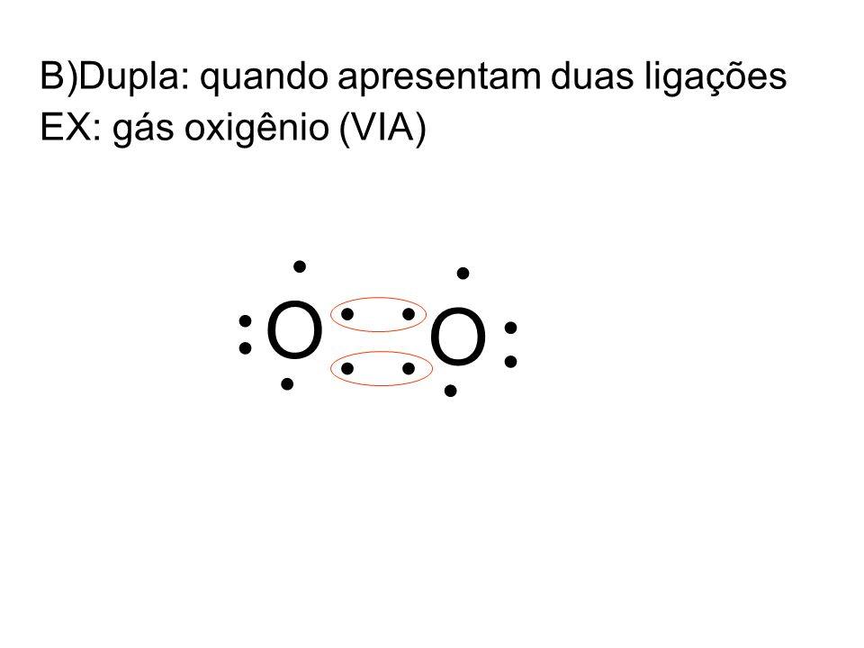 B)Dupla: quando apresentam duas ligações EX: gás oxigênio (VIA) O O