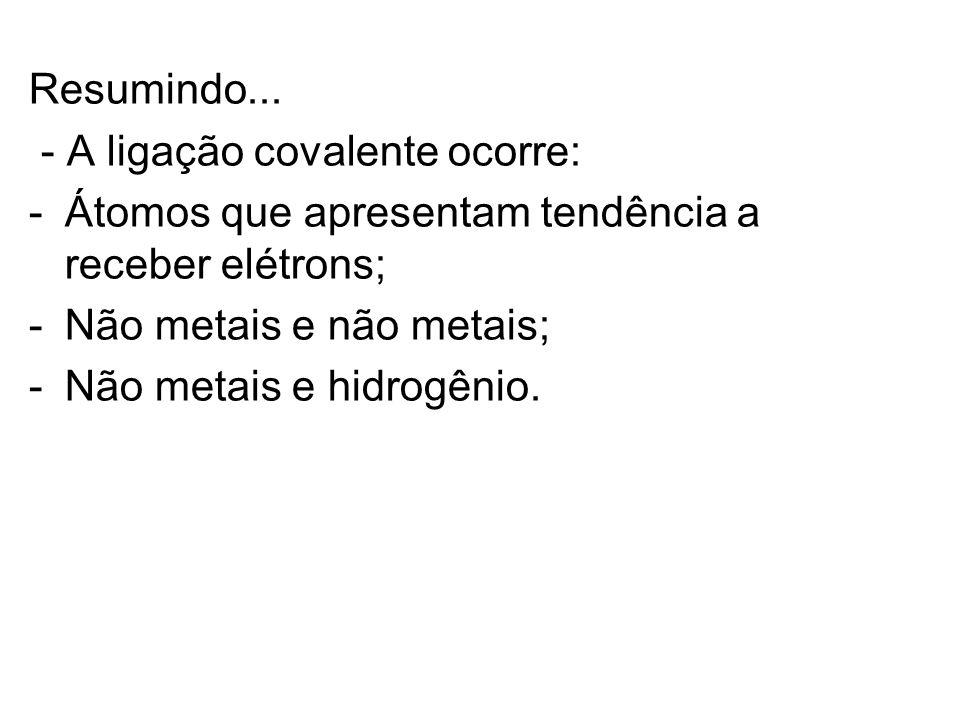 Resumindo... - A ligação covalente ocorre: -Átomos que apresentam tendência a receber elétrons; -Não metais e não metais; -Não metais e hidrogênio.