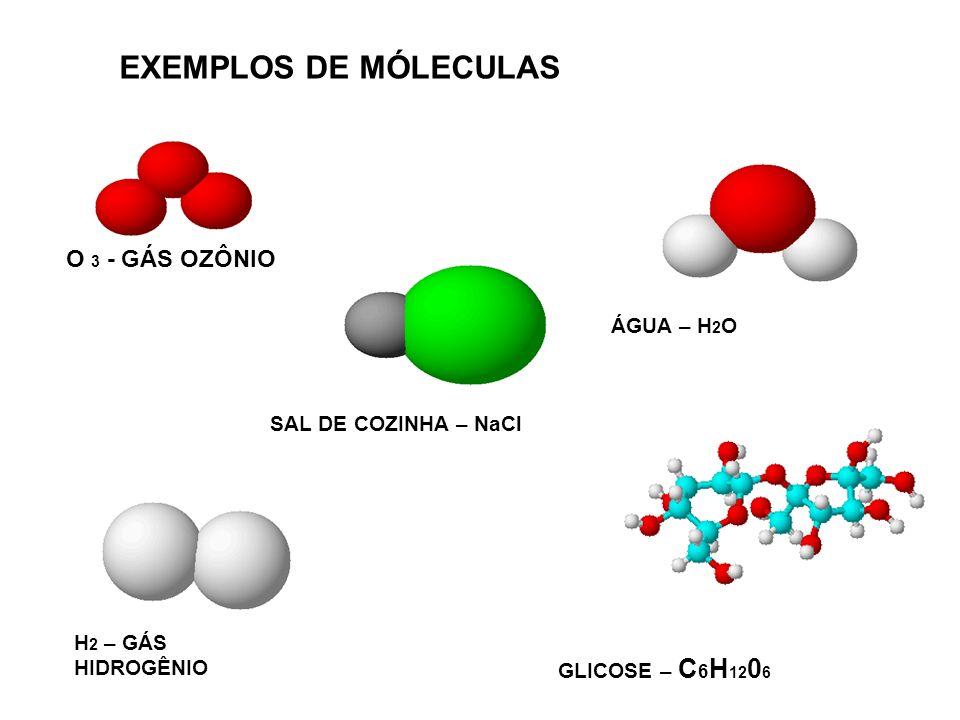 O 3 - GÁS OZÔNIO ÁGUA – H 2 O SAL DE COZINHA – NaCl H 2 – GÁS HIDROGÊNIO GLICOSE – C 6 H 12 0 6 EXEMPLOS DE MÓLECULAS