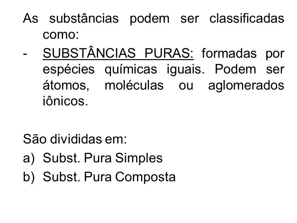 As substâncias podem ser classificadas como: -SUBSTÂNCIAS PURAS: formadas por espécies químicas iguais. Podem ser átomos, moléculas ou aglomerados iôn