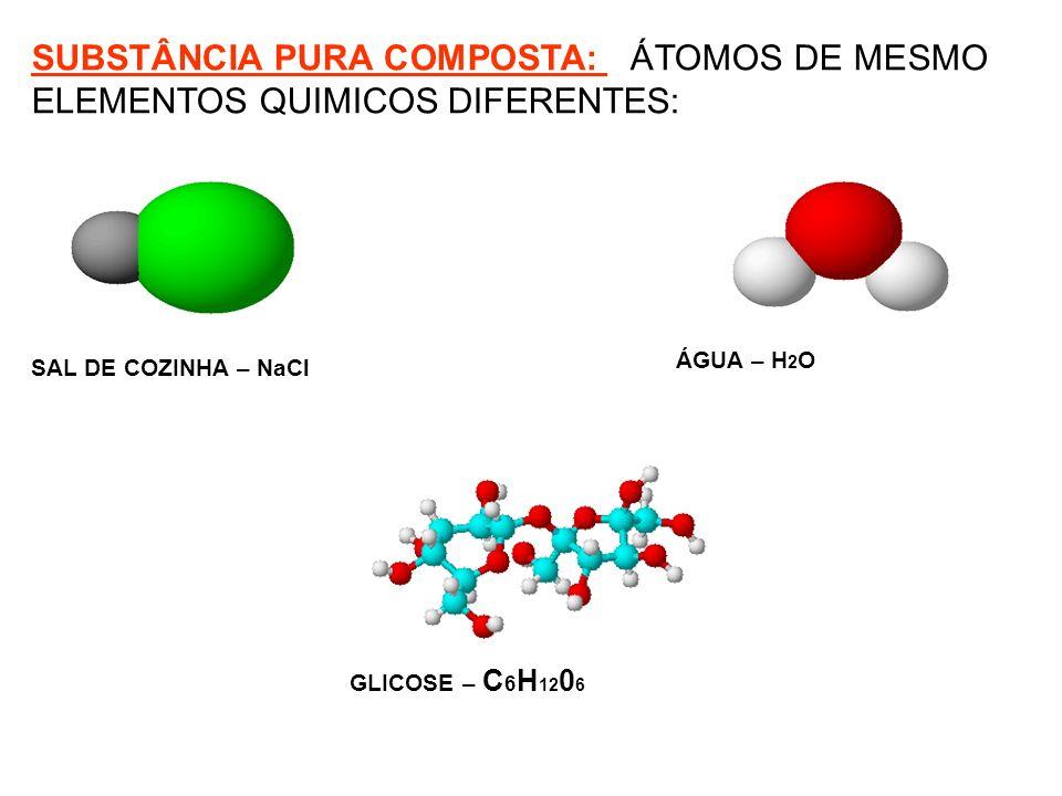 ÁGUA – H 2 O SAL DE COZINHA – NaCl GLICOSE – C 6 H 12 0 6 SUBSTÂNCIA PURA COMPOSTA: ÁTOMOS DE MESMO ELEMENTOS QUIMICOS DIFERENTES: