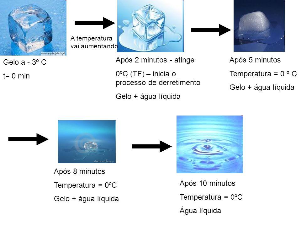 Gelo a - 3º C t= 0 min Após 2 minutos - atinge 0ºC (TF) – inicia o processo de derretimento Gelo + água líquida A temperatura vai aumentando Após 5 mi