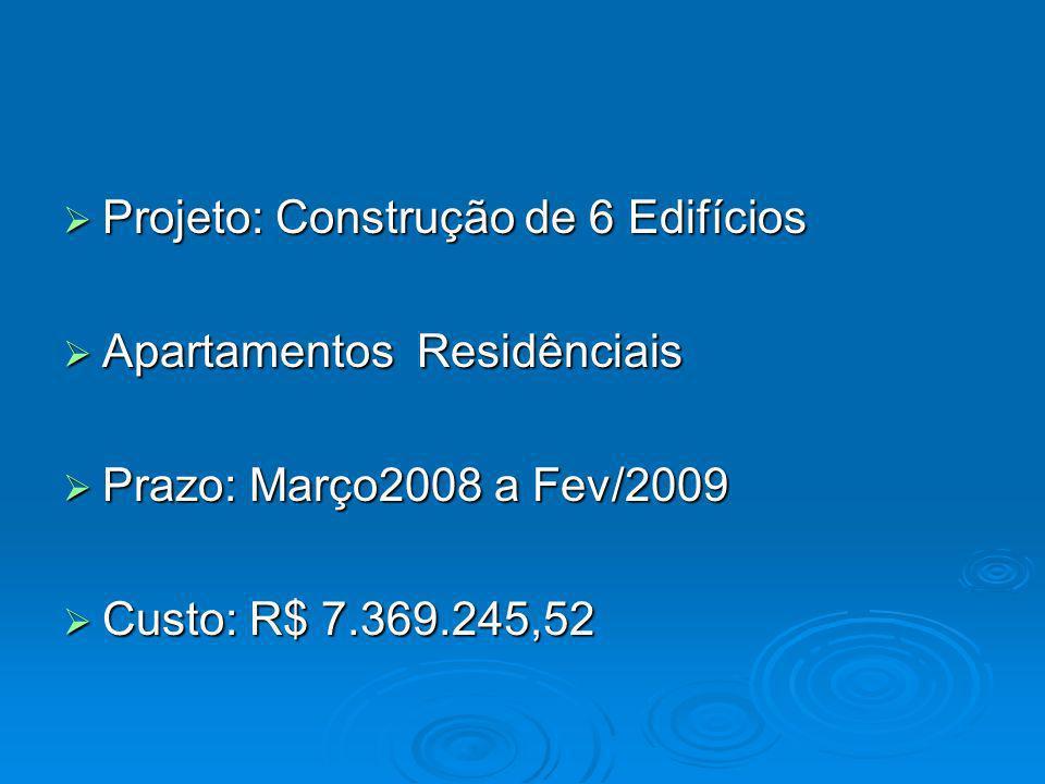 Projeto: Construção de 6 Edifícios Projeto: Construção de 6 Edifícios Apartamentos Residênciais Apartamentos Residênciais Prazo: Março2008 a Fev/2009