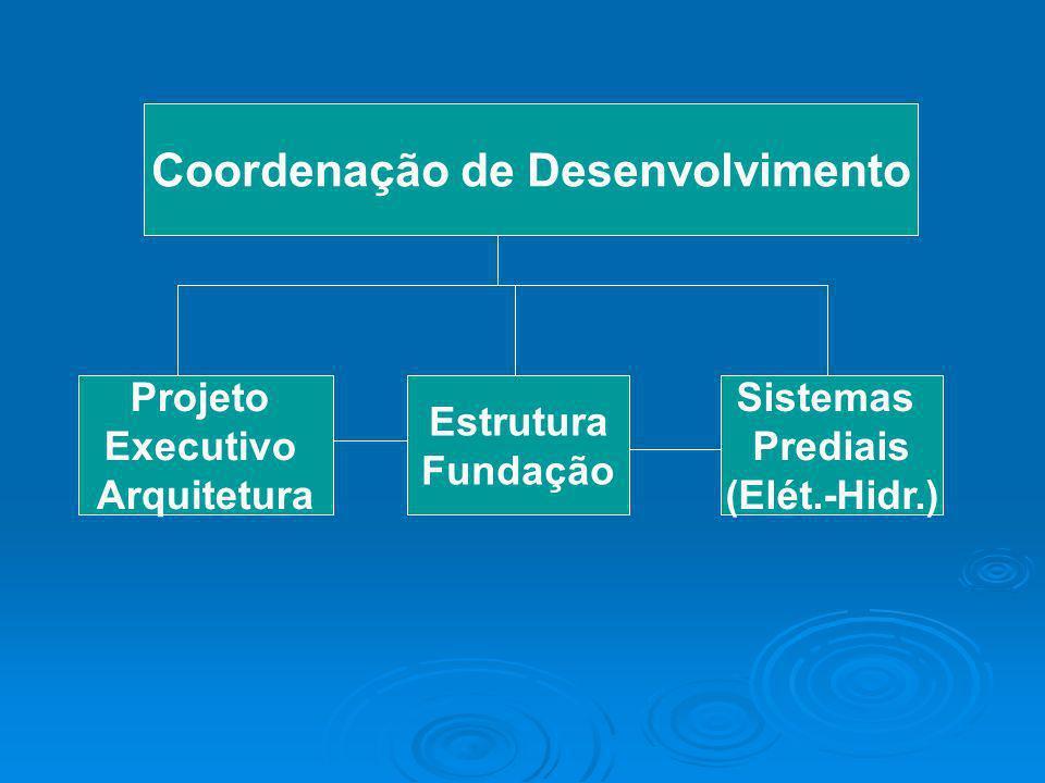 Coordenação de Desenvolvimento Projeto Executivo Arquitetura Sistemas Prediais (Elét.-Hidr.) Estrutura Fundação