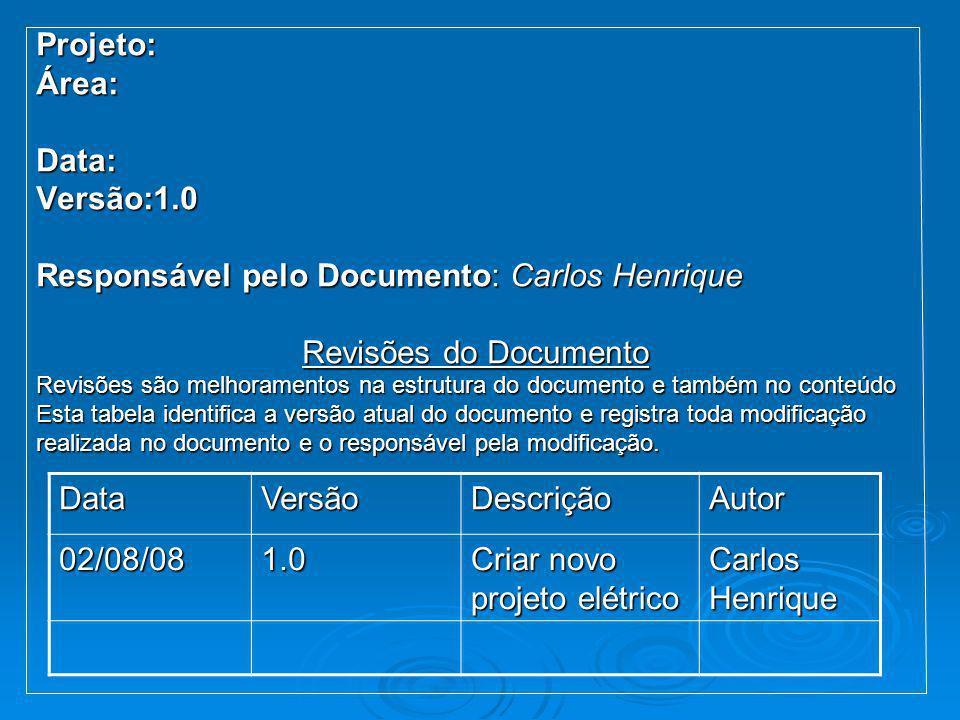 Projeto:Área:Data:Versão:1.0 Responsável pelo Documento: Carlos Henrique Revisões do Documento Revisões são melhoramentos na estrutura do documento e