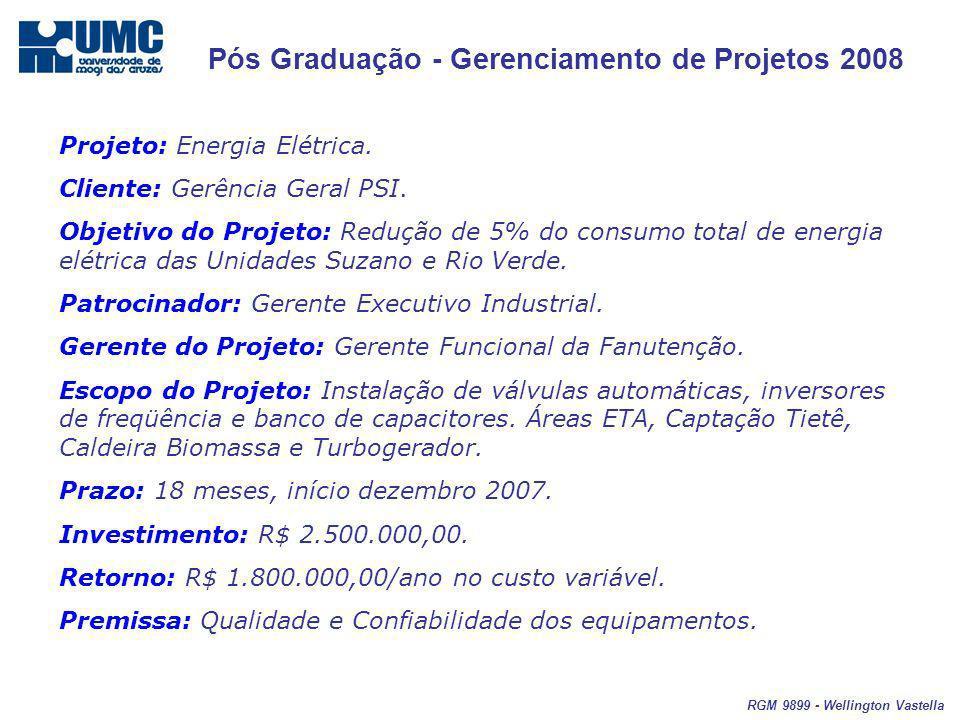 Pós Graduação - Gerenciamento de Projetos 2008 RGM 9899 - Wellington Vastella Projeto: Energia Elétrica. Cliente: Gerência Geral PSI. Objetivo do Proj