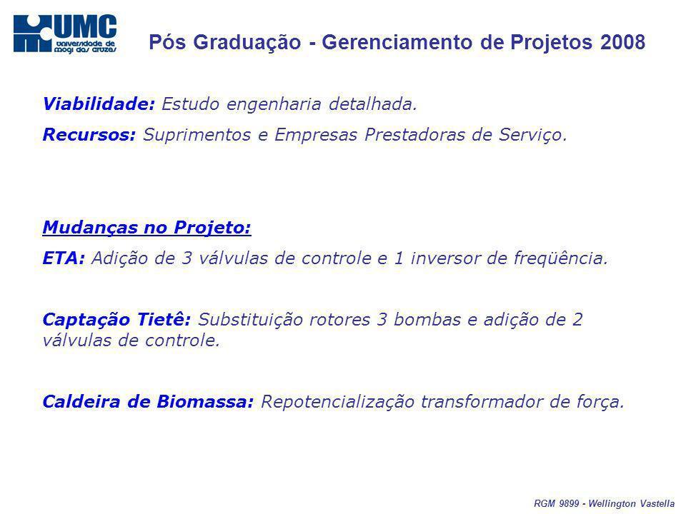 Pós Graduação - Gerenciamento de Projetos 2008 RGM 9899 - Wellington Vastella Viabilidade: Estudo engenharia detalhada. Recursos: Suprimentos e Empres