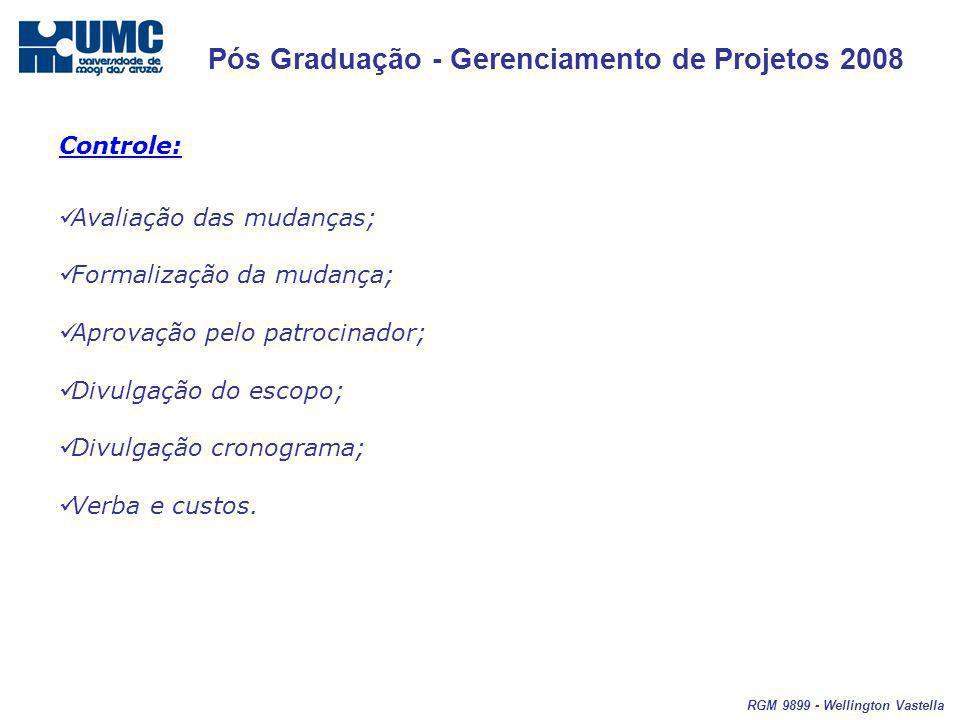 Pós Graduação - Gerenciamento de Projetos 2008 RGM 9899 - Wellington Vastella Controle: Avaliação das mudanças; Formalização da mudança; Aprovação pelo patrocinador; Divulgação do escopo; Divulgação cronograma; Verba e custos.