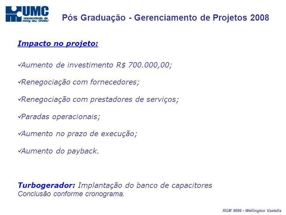 Pós Graduação - Gerenciamento de Projetos 2008 RGM 9899 - Wellington Vastella Impacto no projeto: Aumento de investimento R$ 700.000,00; Renegociação