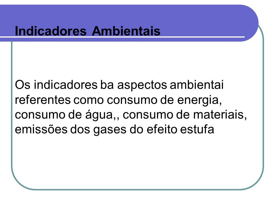 Indicadores Ambientais Os indicadores ba aspectos ambientai referentes como consumo de energia, consumo de água,, consumo de materiais, emissões dos g