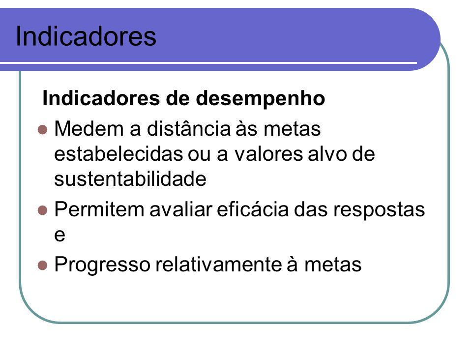 Indicadores Indicadores de desempenho Medem a distância às metas estabelecidas ou a valores alvo de sustentabilidade Permitem avaliar eficácia das res