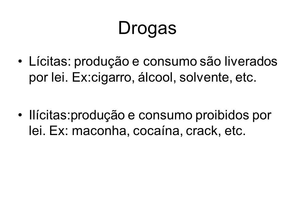 Drogas Lícitas: produção e consumo são liverados por lei. Ex:cigarro, álcool, solvente, etc. Ilícitas:produção e consumo proibidos por lei. Ex: maconh